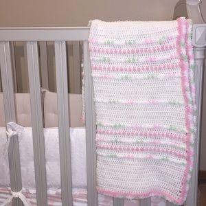 Brand New! Knit Crochet Pink Green White Blanket